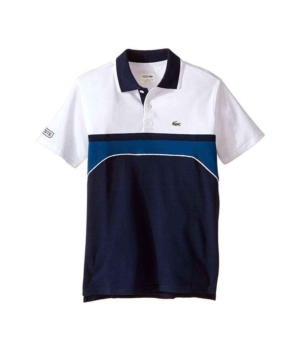 Lacoste Kids - Sport Short Sleeve Superlight Polo with Chest Stripe (Little Kids/Big Kids) (Navy Blue/White Raffia Ma) Boy's Short Sleeve Pullover