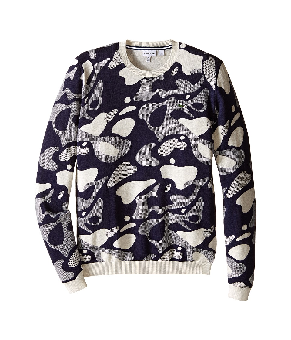 Lacoste Kids - Camo Crew Neck Sweater (Toddler/Little Kids/Big Kids) (Dust Chine/Eclipse Blue) Boy's Sweater