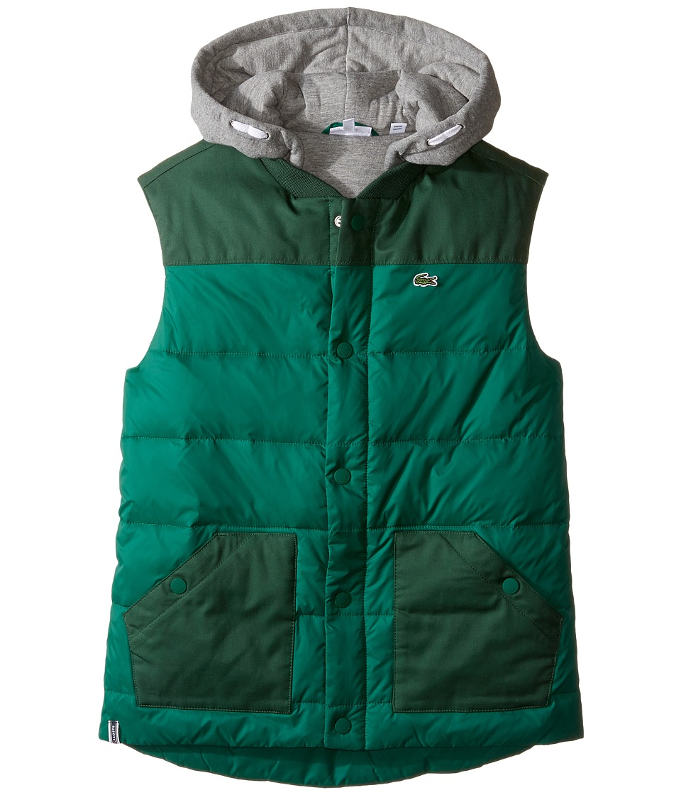 Lacoste Kids - Flannel Lined Padded Vest with Attached Hood (Little Kids/Big Kids) (Bottle Dark) Boy's Vest