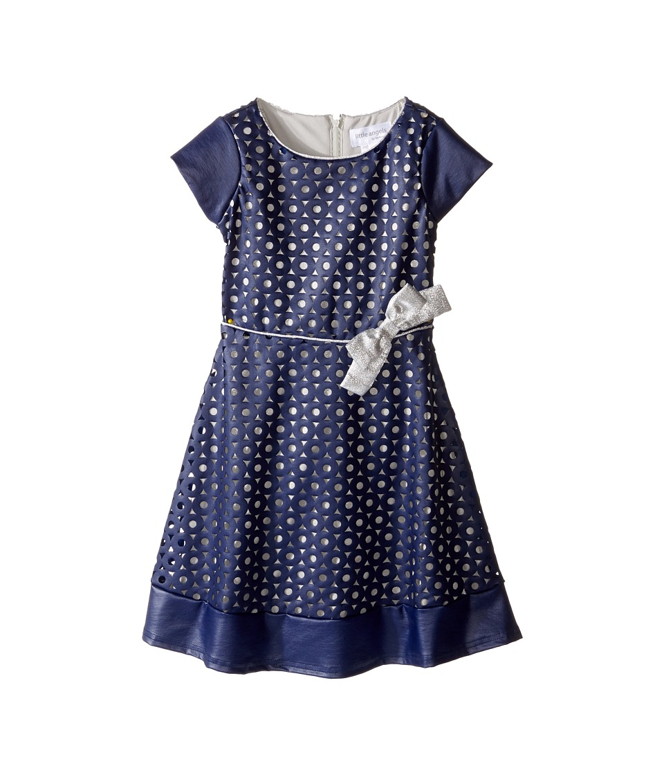 Us Angels - Cut Out Cap Sleeve Skater Dress (Toddler/Little Kids) (Navy/Silver) Girl's Dress