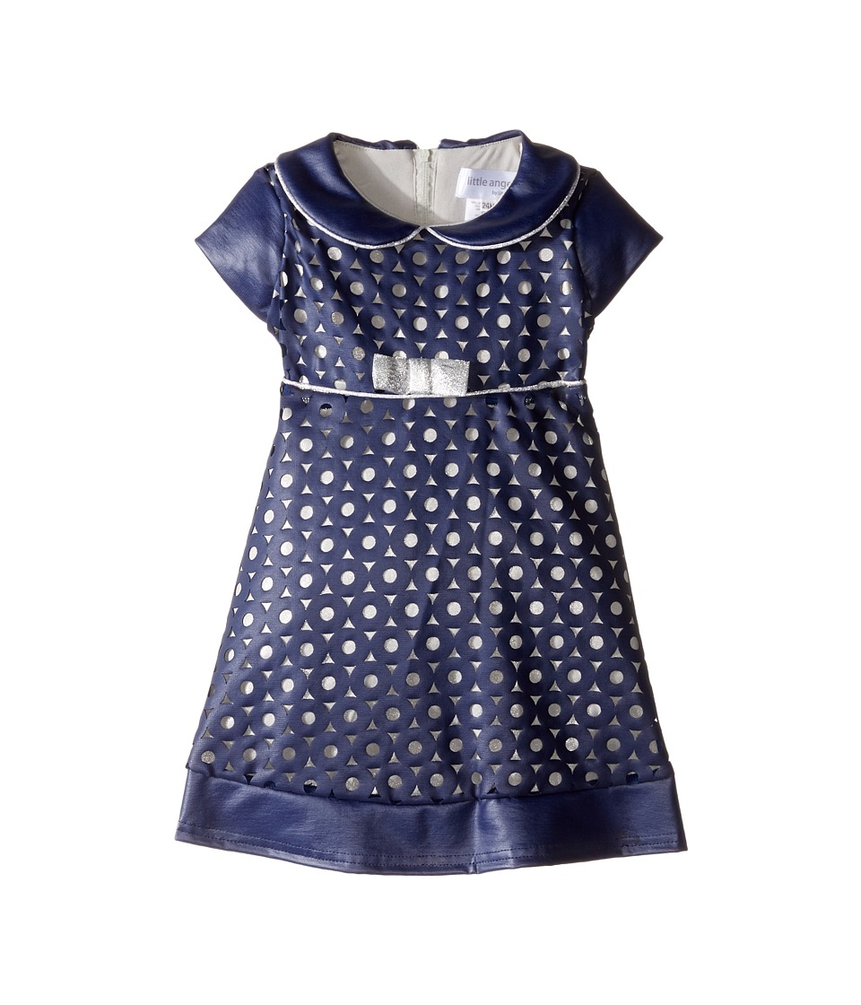Us Angels - Cut Out Cap Sleeve Skater Dress (Infant) (Navy/Silver) Girl's Dress