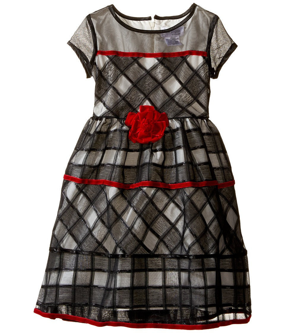 Us Angels - Short Sleeve Jacquard Organza Dress (Toddler/Little Kids) (Black/Ivory) Girl's Dress