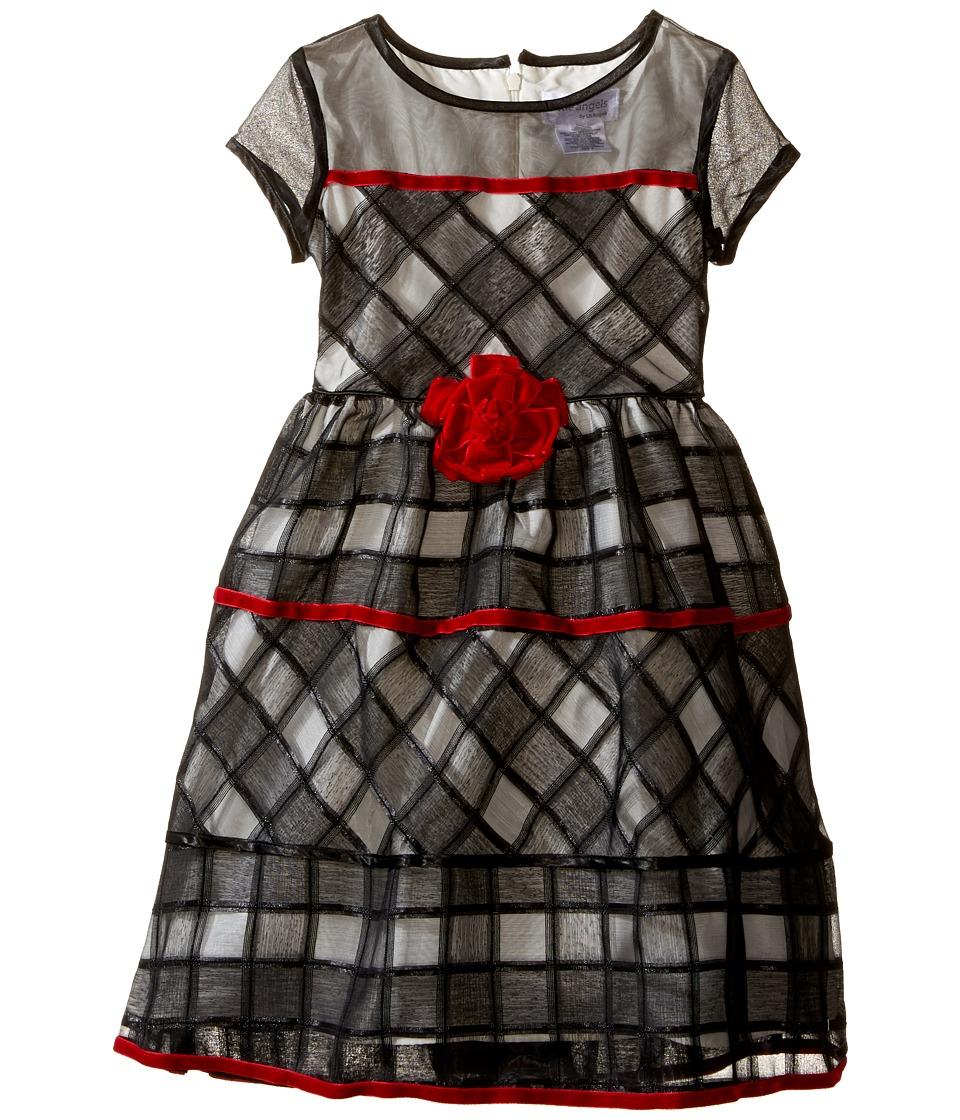 Us Angels - Short Sleeve Jacquard Organza Dress (Toddler/Little Kids) (Black/Ivory) Girl's Dress