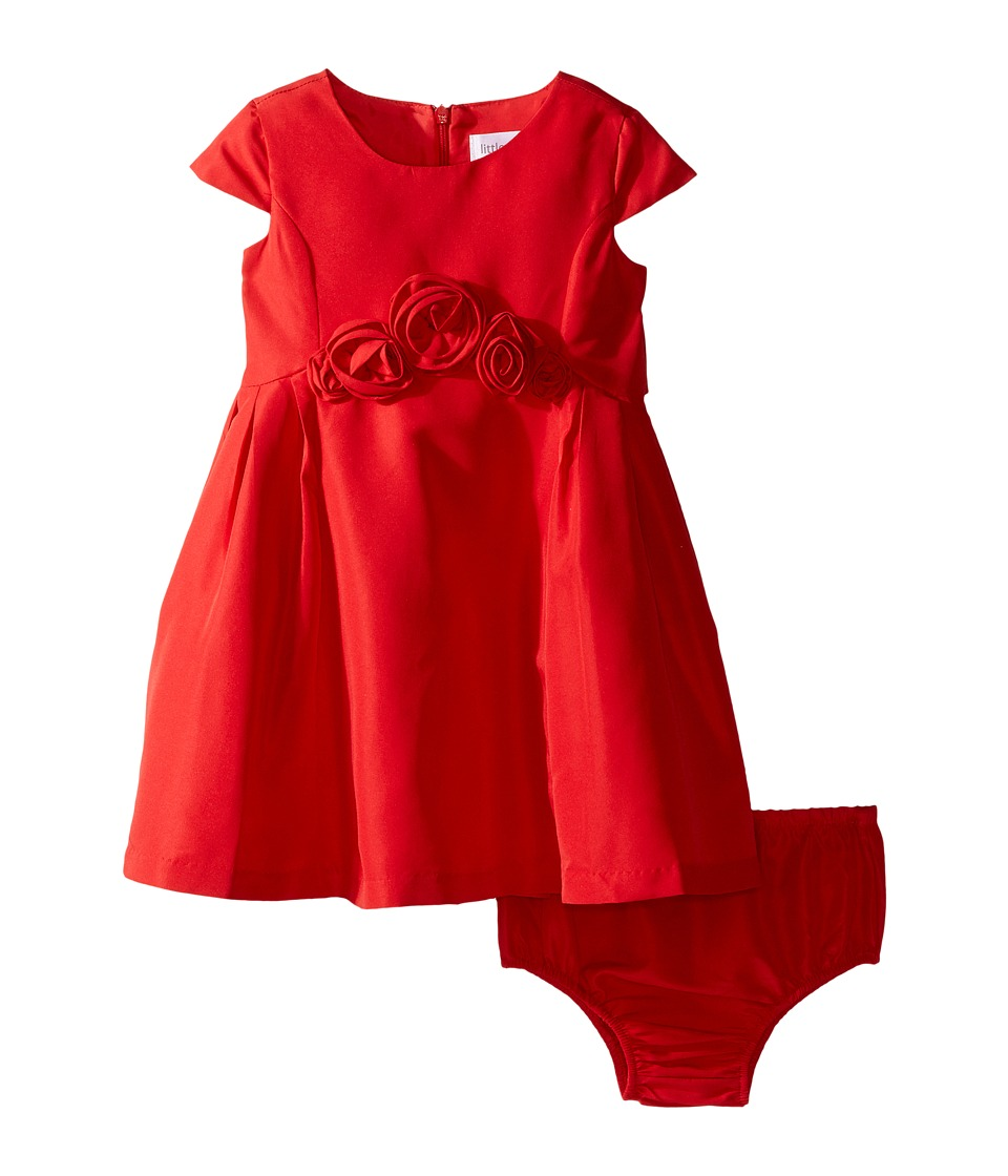 Us Angels - Silk Taffeta Cap Sleeve Dress w/ Flower Trim (Infant) (Red) Girl's Dress
