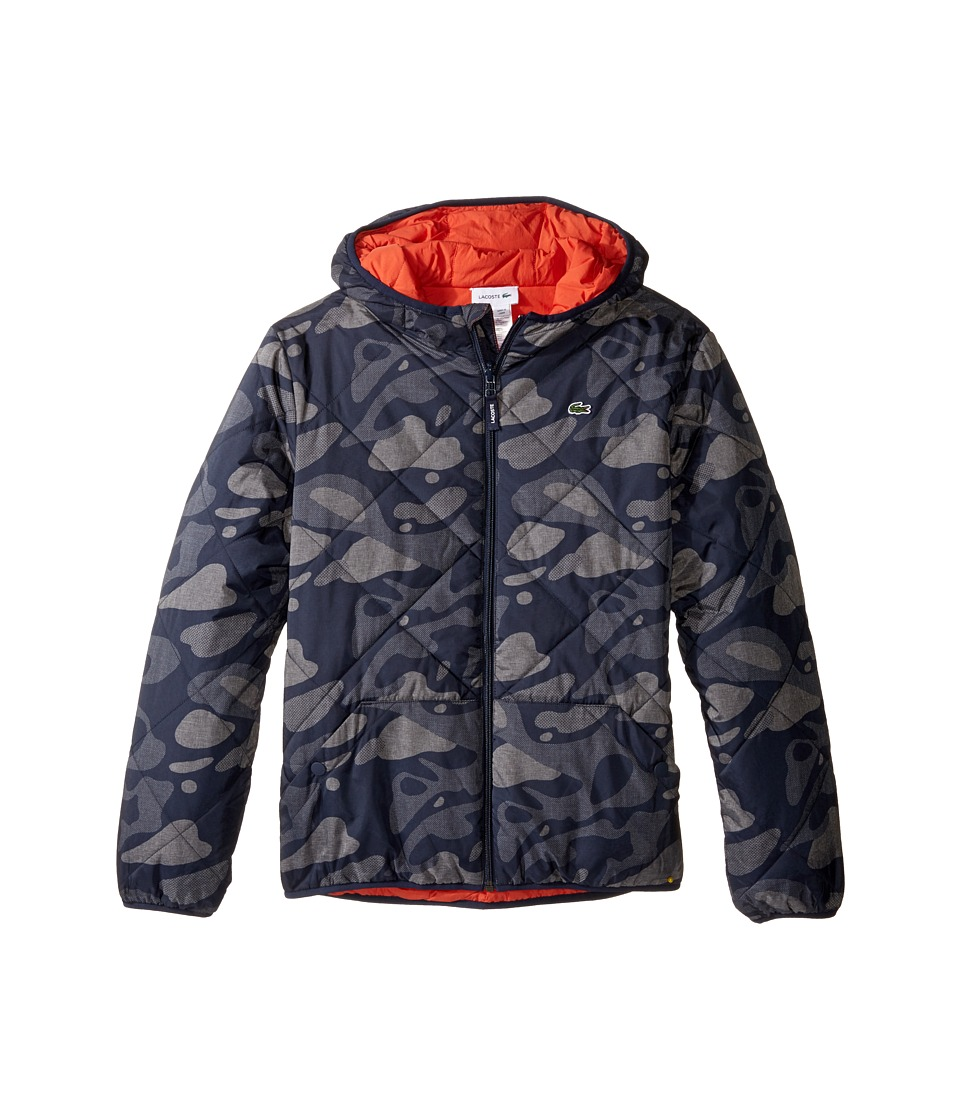 Lacoste Kids Reversible Puffer Coat with All Over Camo Graphic (Little Kids/Big Kids) (Tar Black/Eclipse Blue Or) Boy
