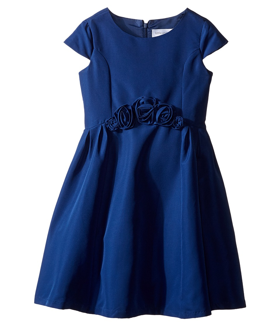 Us Angels - Silk Taffeta Cap Sleeve Dress w/ Flower Trim (Toddler/Little Kids) (Navy) Girl's Dress