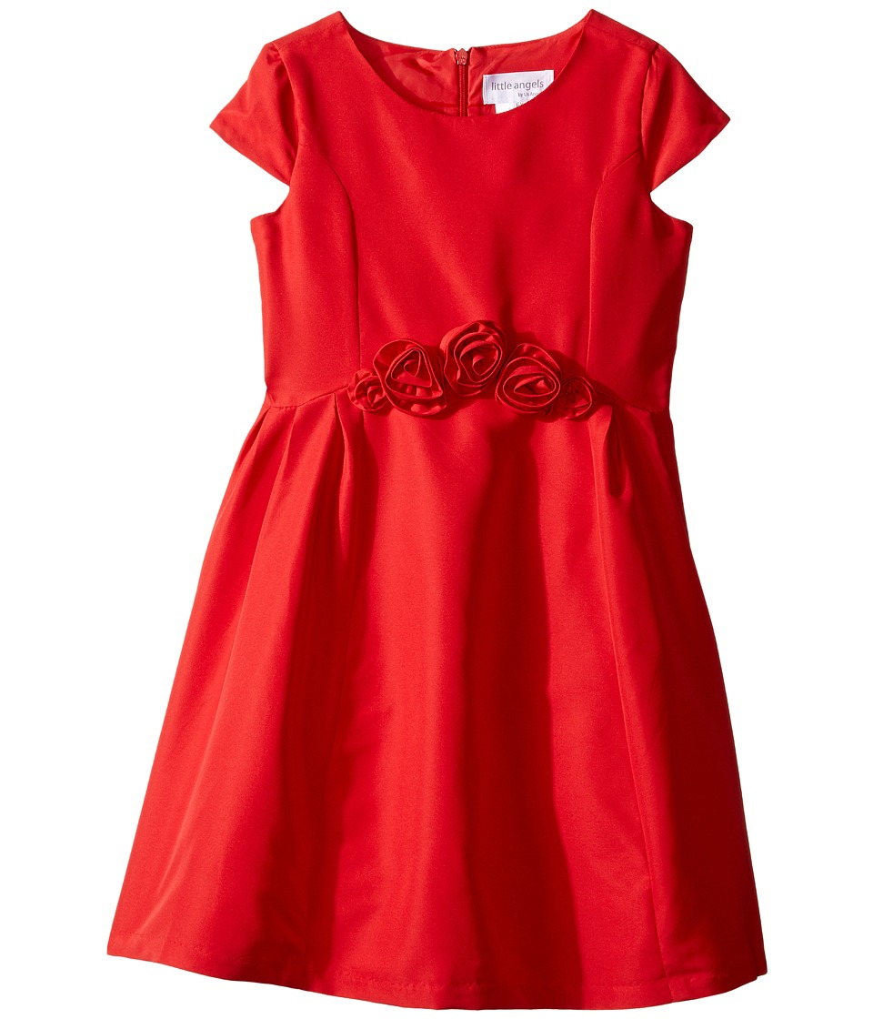 Us Angels - Silk Taffeta Cap Sleeve Dress w/ Flower Trim (Toddler/Little Kids) (Red) Girl's Dress