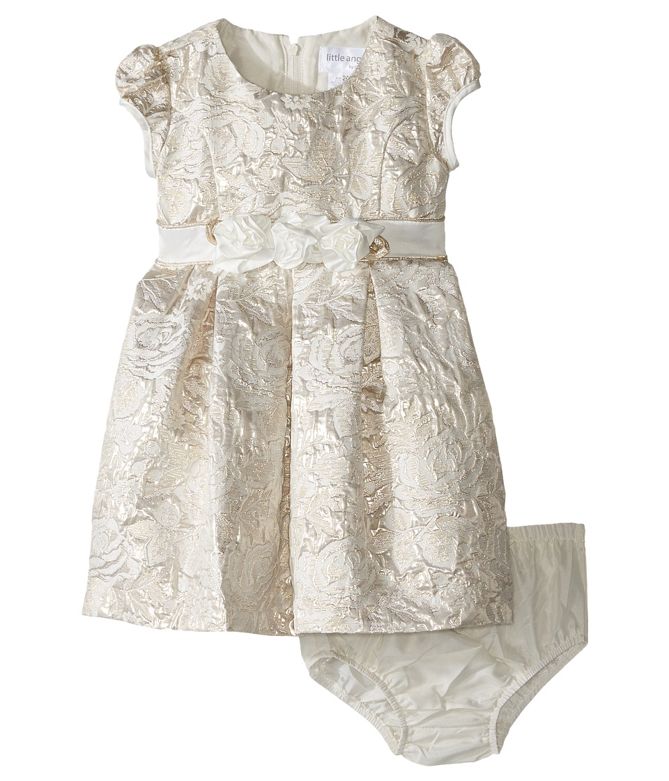Us Angels - Brocade Short Sleeve Princess Bodice Empire Dress (Infant) (Ivory/Gold) Girl's Dress