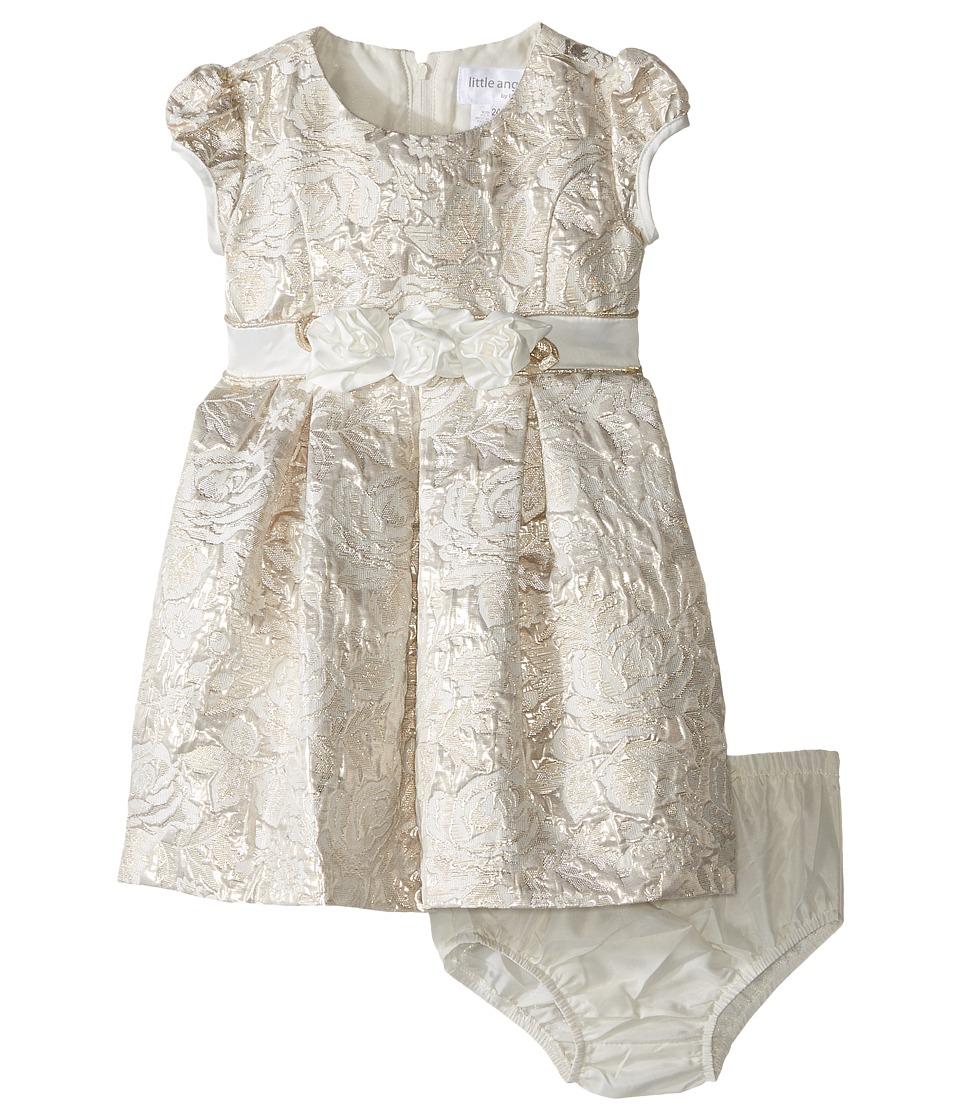 Us Angels - Brocade Short Sleeve Princess Bodice Empire Dress (Infant) (Ivory/Gold) Girl's Dress