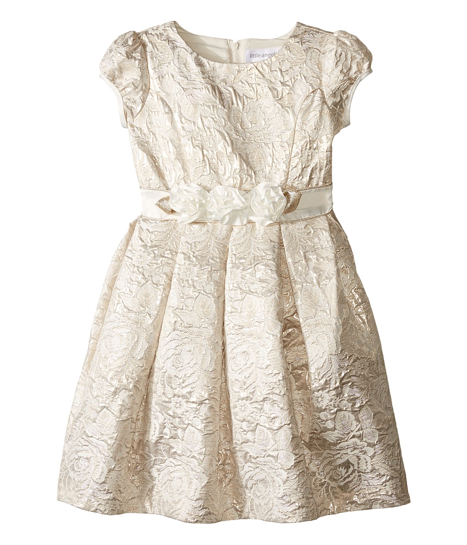 Us Angels - Brocade Short Sleeve Princess Bodice Empire Dress (Toddler/Little Kids) (Ivory/Gold) Girl's Sweater