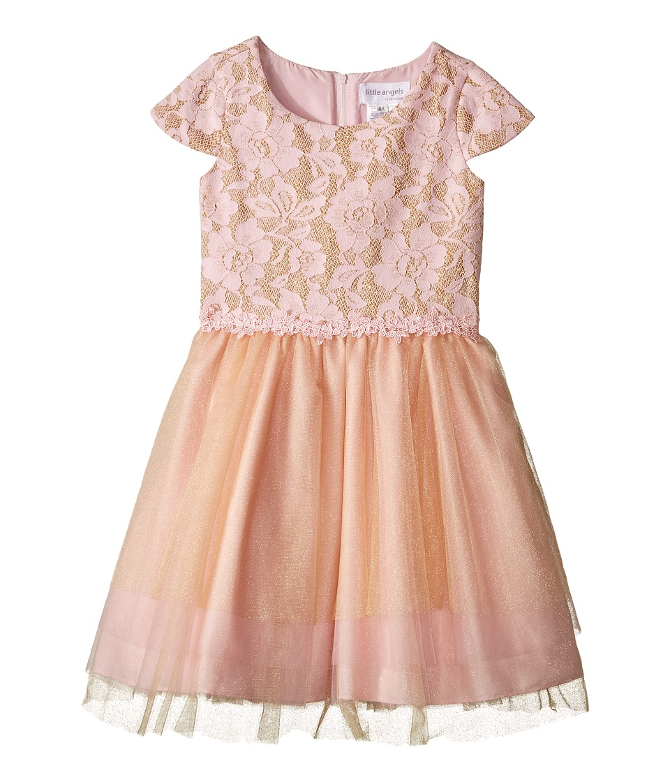 Us Angels - Cap Sleeve Ballerina Dress (Toddler/Little Kids) (Pink/Gold) Girl's Dress