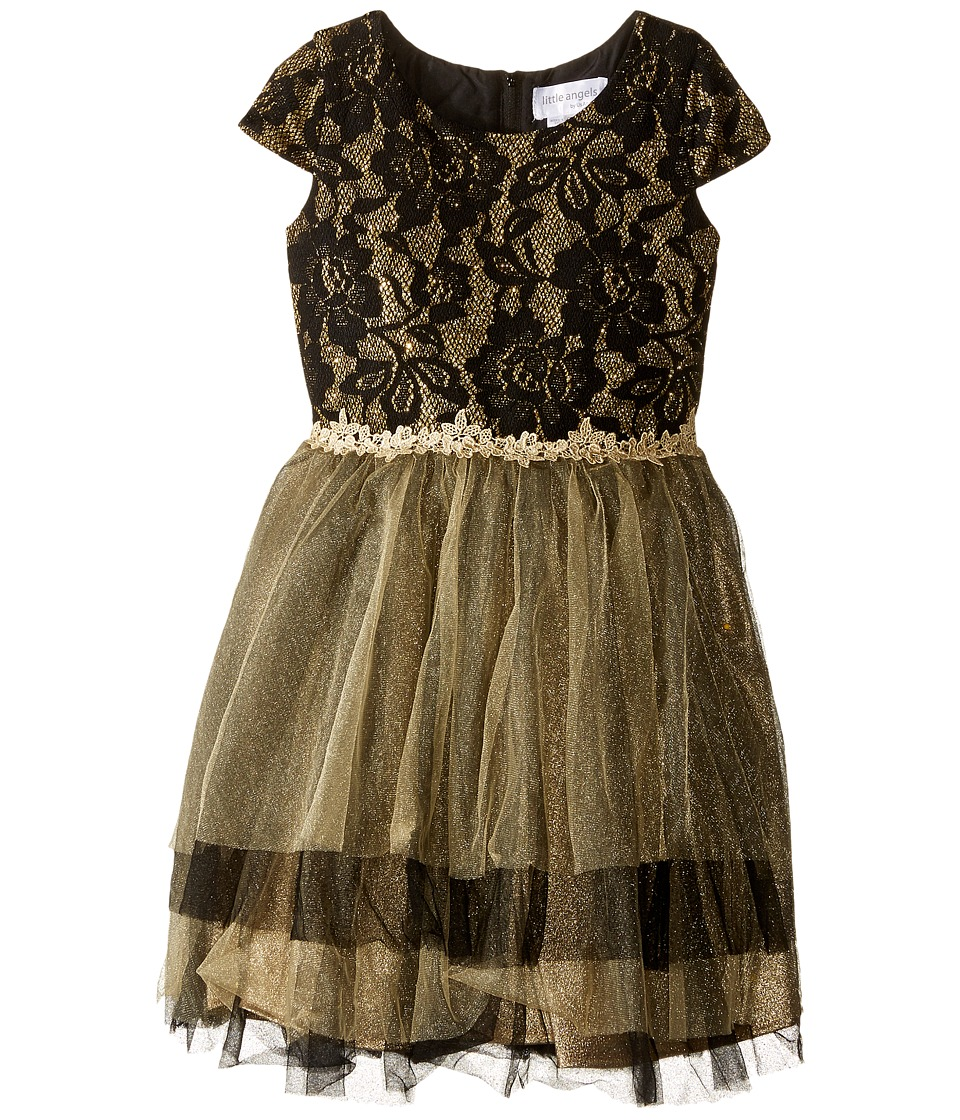 Us Angels - Cap Sleeve Ballerina Dress (Toddler/Little Kids) (Black/Gold) Girl's Dress