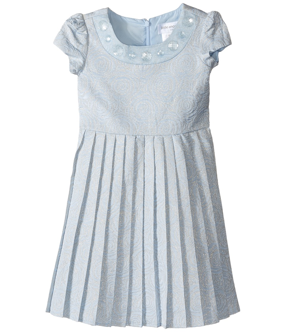 Us Angels - Short Sleeve Brocade Dress w/ Pleats (Toddler/Little Kids) (Blue) Girl's Dress