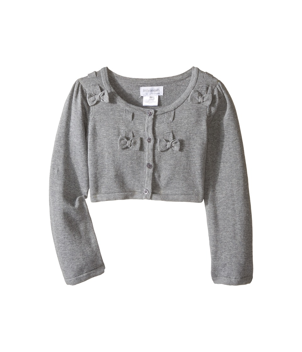 Us Angels - Bow w/ Scalloped Edge Cardigan (Toddler/Little Kids) (Heather Grey) Girl's Sweater