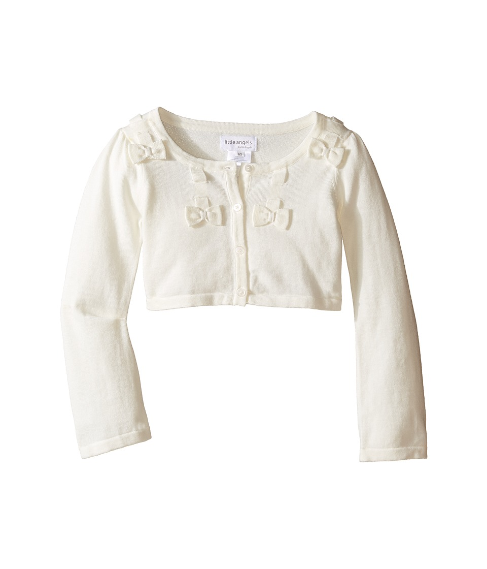 Us Angels - Bow w/ Scalloped Edge Cardigan (Toddler/Little Kids) (Ivory) Girl's Sweater