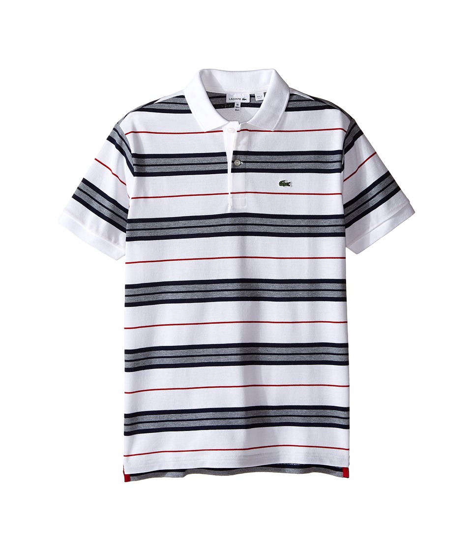 Lacoste Kids - Short Sleeve Multi Stripe Polo (Infant/Toddler/Little Kids/Big Kids) (White/Tokyo Red/Navy Blue) Boy's Short Sleeve Pullover