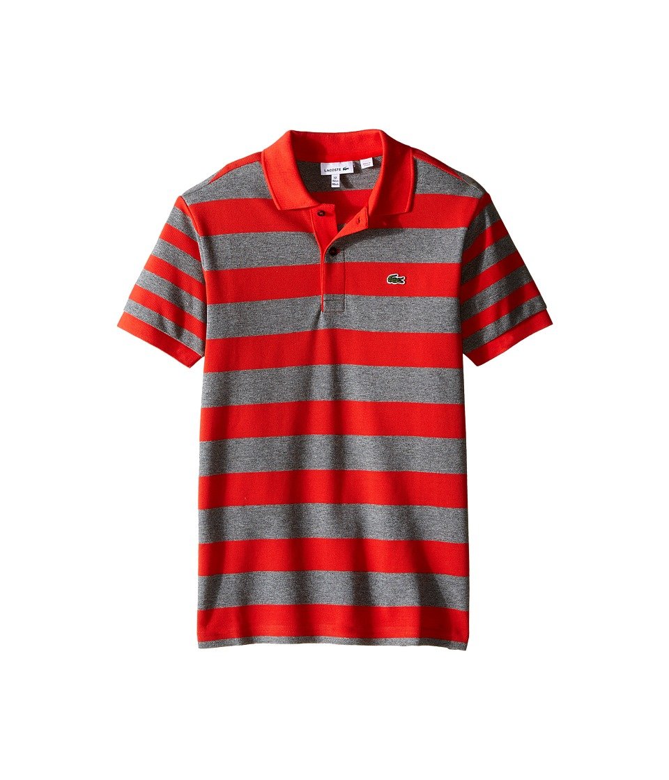 Lacoste Kids - Short Sleeve Bold Striped Polo (Infant/Toddler/Little Kids/Big Kids) (Fusion/Light Grey Jaspe) Boy's Short Sleeve Pullover
