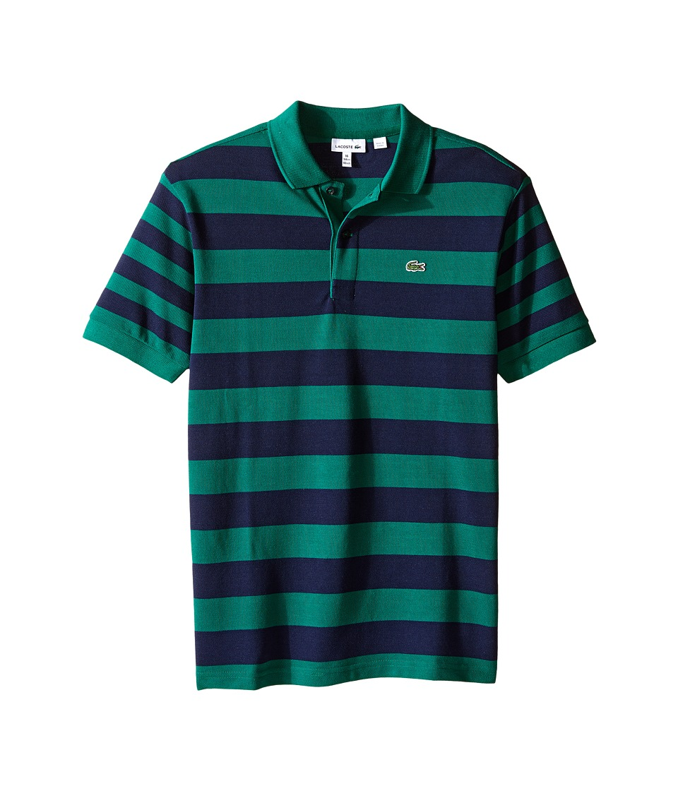Lacoste Kids - Short Sleeve Bold Striped Polo (Infant/Toddler/Little Kids/Big Kids) (Bottle Green/Navy Blue) Boy's Short Sleeve Pullover