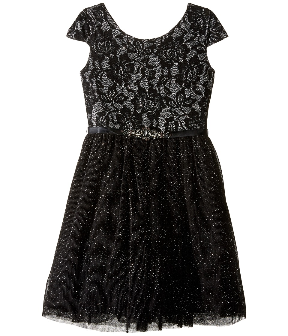 Us Angels - Short Sleeve Bonded Glitter Lace Dress w/ Tulle (Big Kids) (Black) Girl's Dress