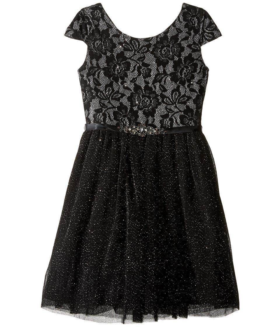 Us Angels - Short Sleeve Bonded Glitter Lace Dress w/ Tulle (Big Kids) (Black) Girl's Dress
