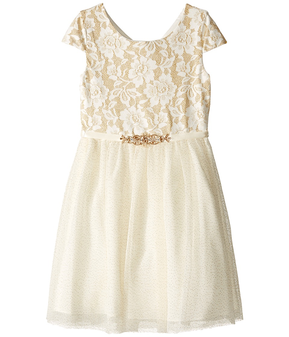 Us Angels - Short Sleeve Bonded Glitter Lace Dress w/ Tulle (Big Kids) (Gold) Girl's Dress