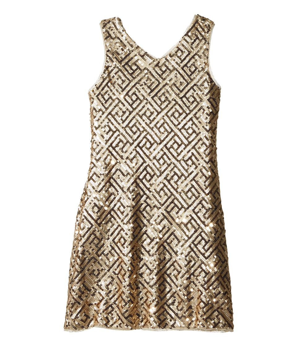 Us Angels - Sequin Sleeveless Sheath Dress (Big Kids) (Gold) Girl's Dress