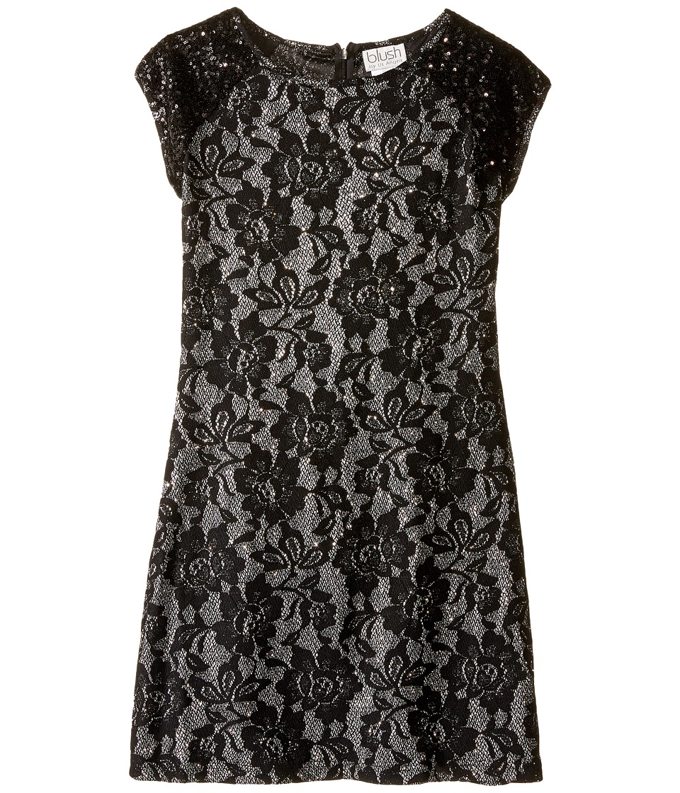 Us Angels - Short Sleeve Bonded Glitter Lace Sheath Dress (Big Kids) (Black) Girl's Dress