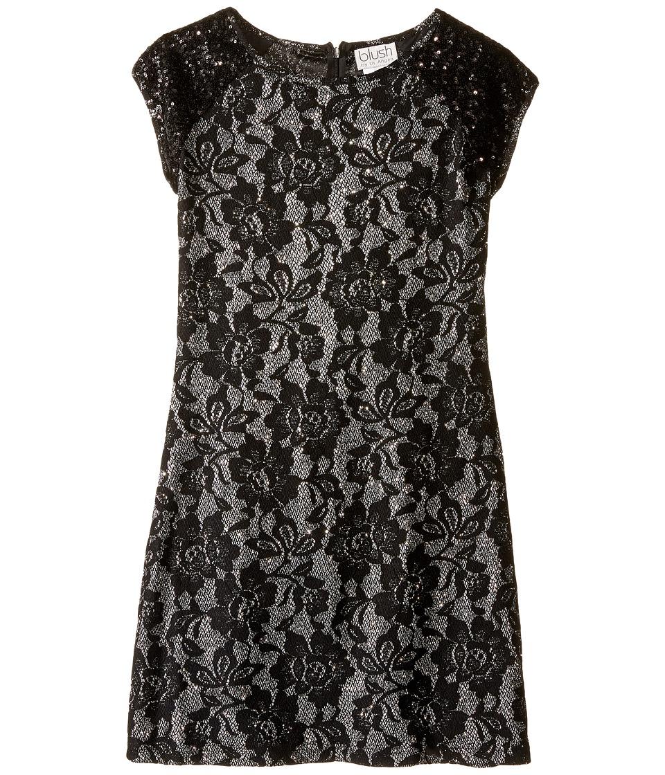 Us Angels Short Sleeve Bonded Glitter Lace Sheath Dress (Big Kids) (Black) Girl