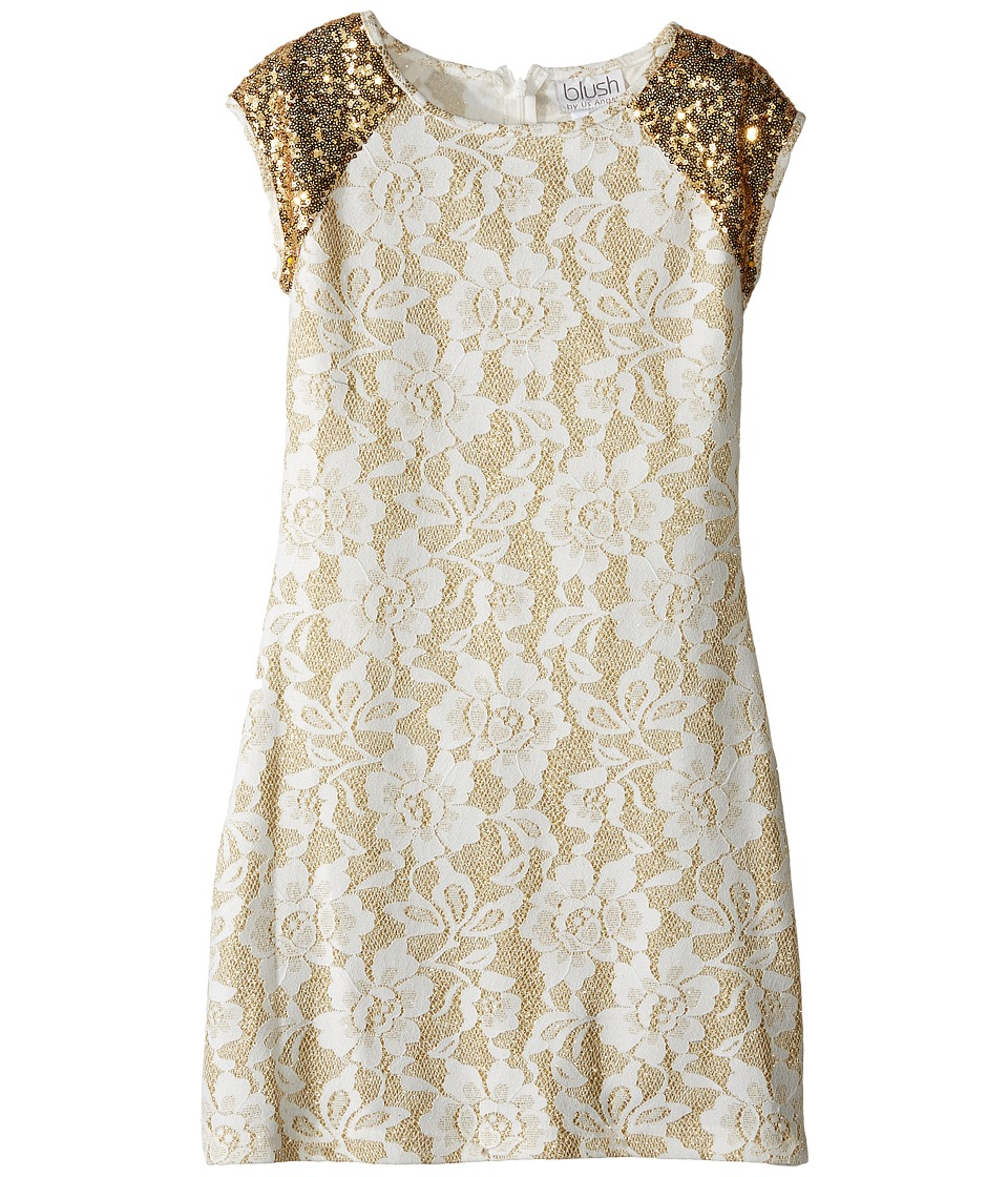 Us Angels - Short Sleeve Bonded Glitter Lace Sheath Dress (Big Kids) (Gold) Girl's Dress