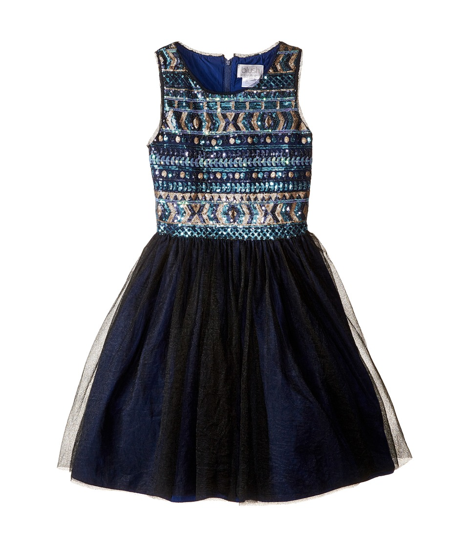 Us Angels - Sleeveless Sequin w/ Full Skirt (Big Kids) (Blue) Girl's Dress