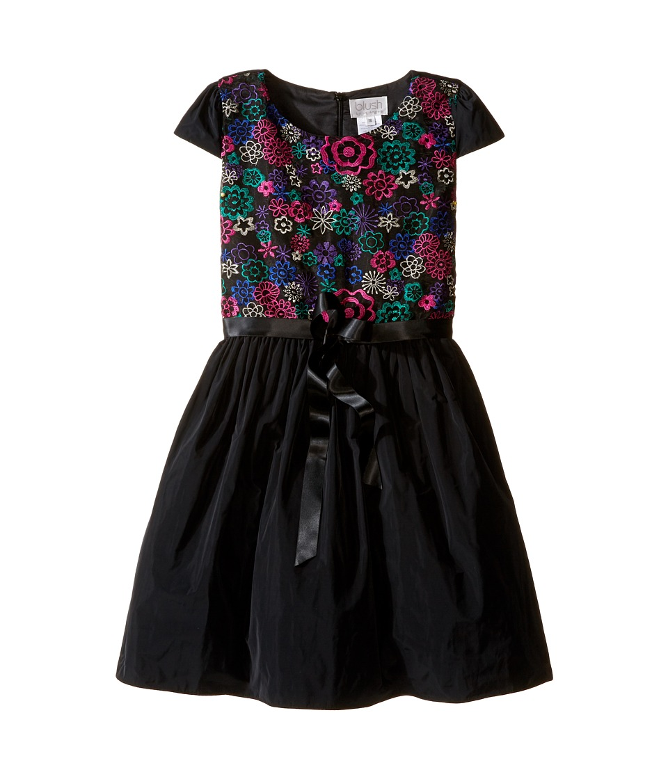 Us Angels - Cap Sleeve Embroidered Bodice Full Skirt (Big Kids) (Black) Girl's Dress