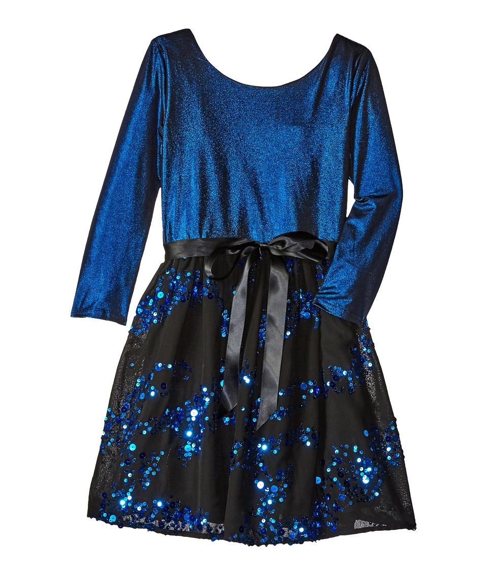 Us Angels - 3/4 Sleeve Keyhole Back w/ Full Skirt (Big Kids) (Blue) Girl's Dress