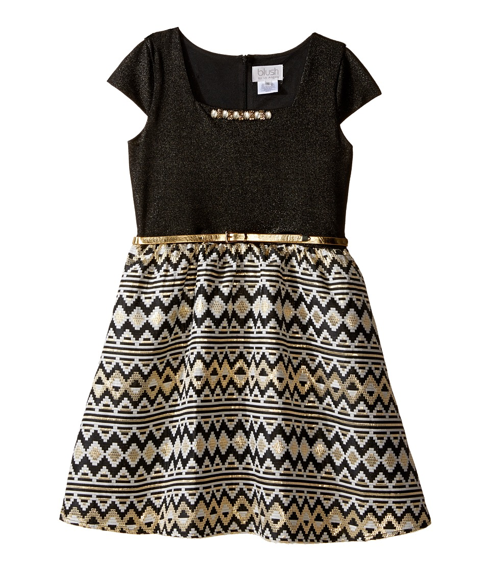 Us Angels - Cap Sleeve Beaded Neckline w/ Full Skirt (Big Kids) (Black) Girl's Dress
