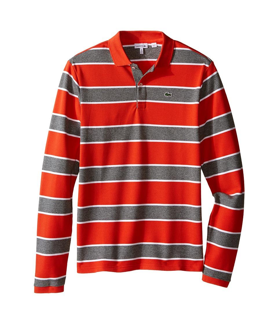 Lacoste Kids - Long Sleeve Bold Striped Heavy Pique Polo (Toddler/Little Kids/Big Kids) (Orangeraie/Light Grey Jaspe) Boy's Long Sleeve Pullover