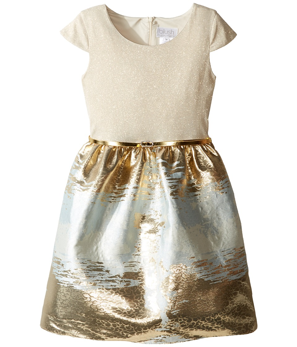 Us Angels - Cap Sleeve Metallic Brocade Dress (Big Kids) (Powder Blue) Girl's Dress