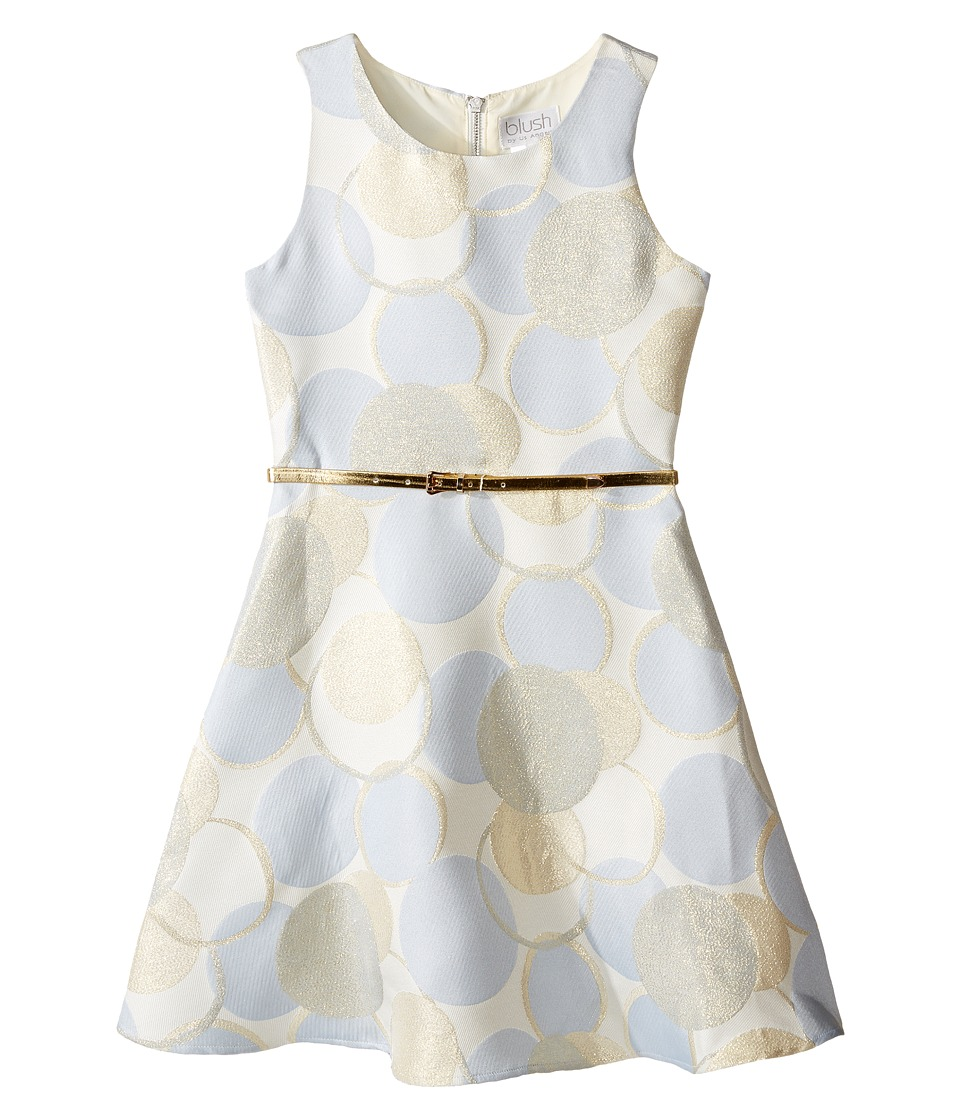 Us Angels - Sleeveless Dot Printed Borcade Dress (Big Kids) (Powder Blue) Girl's Dress