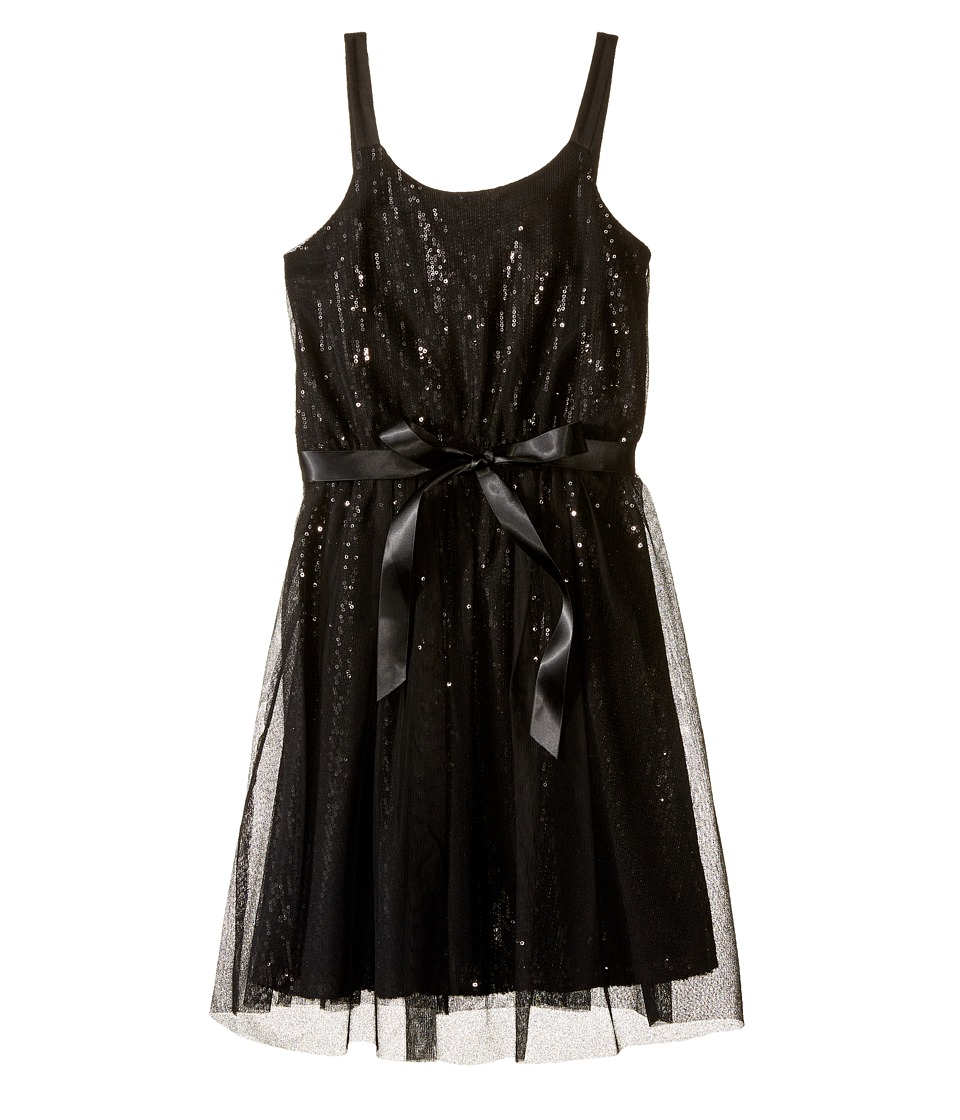 Us Angels - Sequin Tank Sheath Dress w/ Netting Overlay (Big Kids) (Black) Girl's Dress