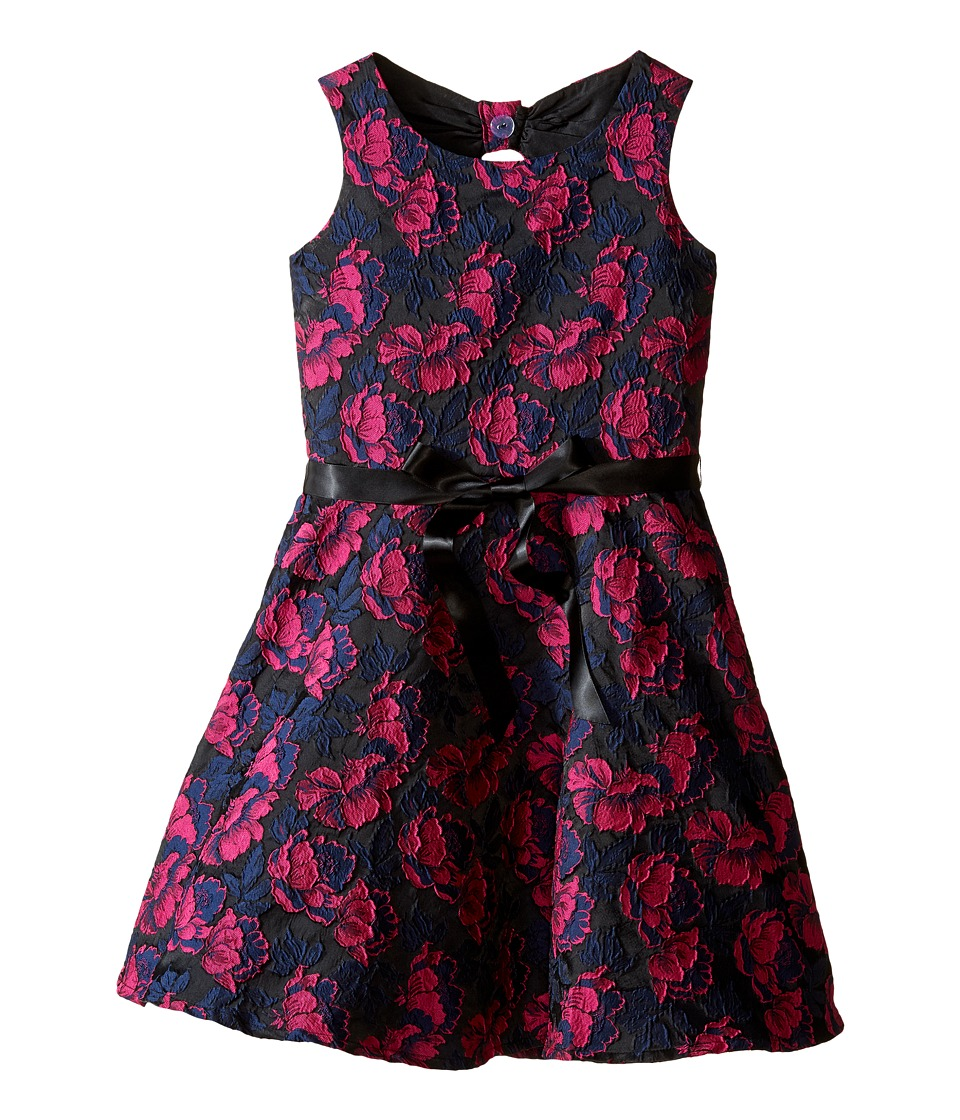 Us Angels - Rose Brocade Sleeveless Bow Back Dress (Big Kids) (Fuchsia) Girl's Dress