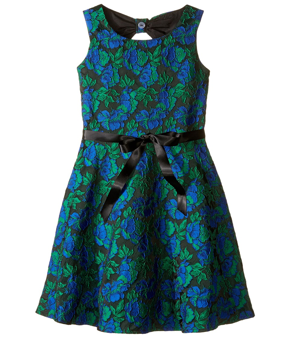 Us Angels - Rose Brocade Sleeveless Bow Back Dress (Big Kids) (Navy) Girl's Dress