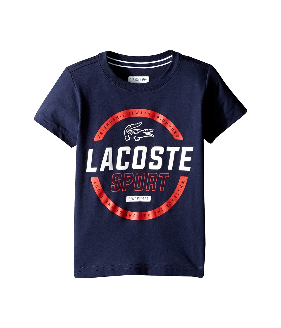 Lacoste Kids - Sport Cotton Poly Lacoste Graphic Tee Shirt (Toddler/Little Kids/Big Kids) (Navy Blue/White Corrida) Boy's T Shirt