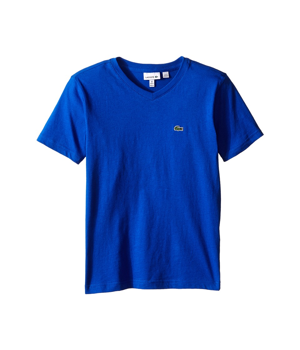 Lacoste Kids - S/S Classic Jersey V-Neck Tee (Toddler/Little Kids/Big Kids) (Corvette) Boy's Short Sleeve Pullover