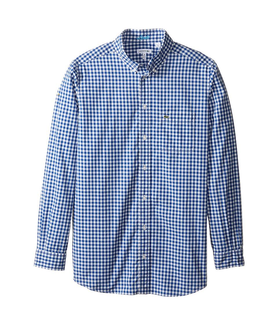 Lacoste Kids - Long Sleeve Check Poplin Woven Shirt (Little Kids/Big Kids) (Corvette/White) Boy's Clothing