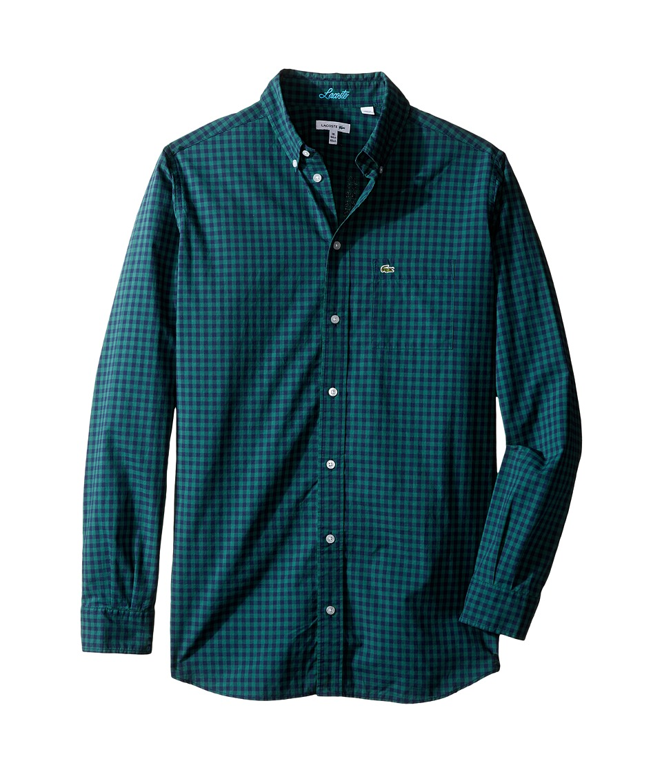 Lacoste Kids - Long Sleeve Check Poplin Woven Shirt (Little Kids/Big Kids) (Bottle Green/Navy Blue) Boy's Clothing