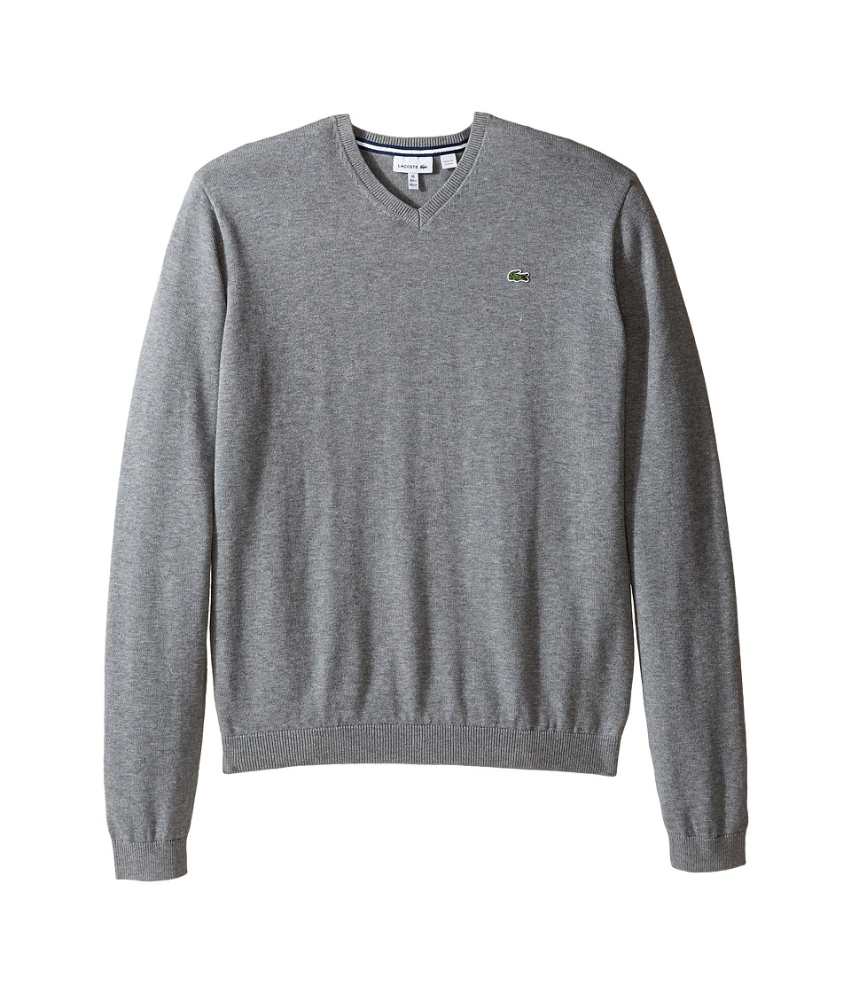 Lacoste Kids - Solid V-Neck Sweater (Toddler/Little Kids/Big Kids) (Light Tar Grey Chine) Boy's Sweater