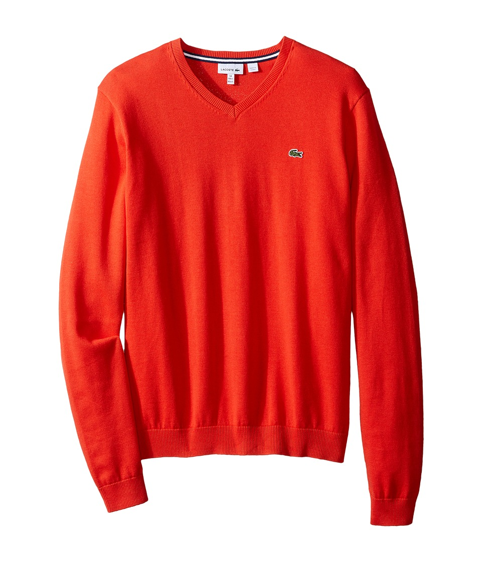 Lacoste Kids - Solid V-Neck Sweater (Toddler/Little Kids/Big Kids) (Fusion) Boy's Sweater