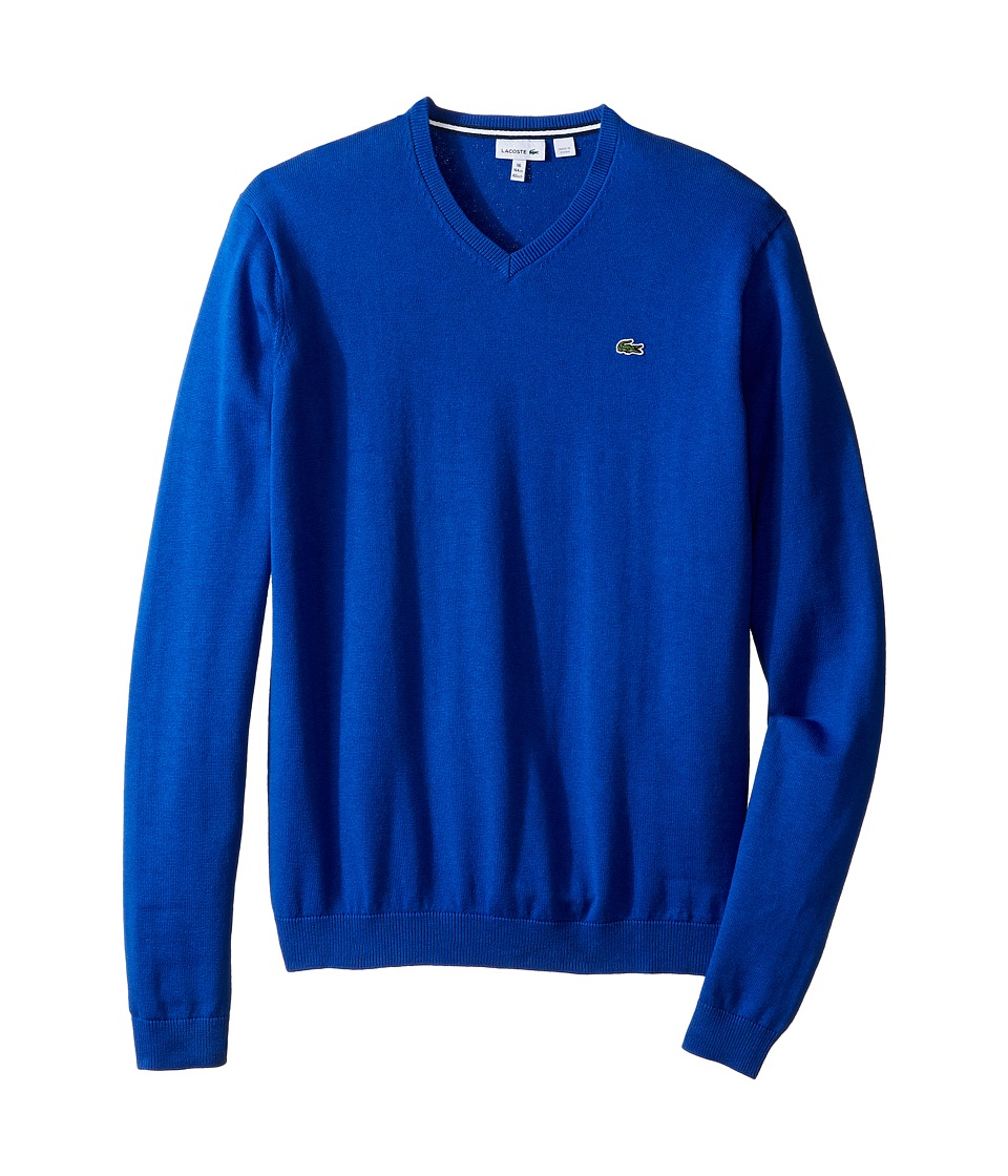 Lacoste Kids - Solid V-Neck Sweater (Toddler/Little Kids/Big Kids) (Corvette) Boy's Sweater