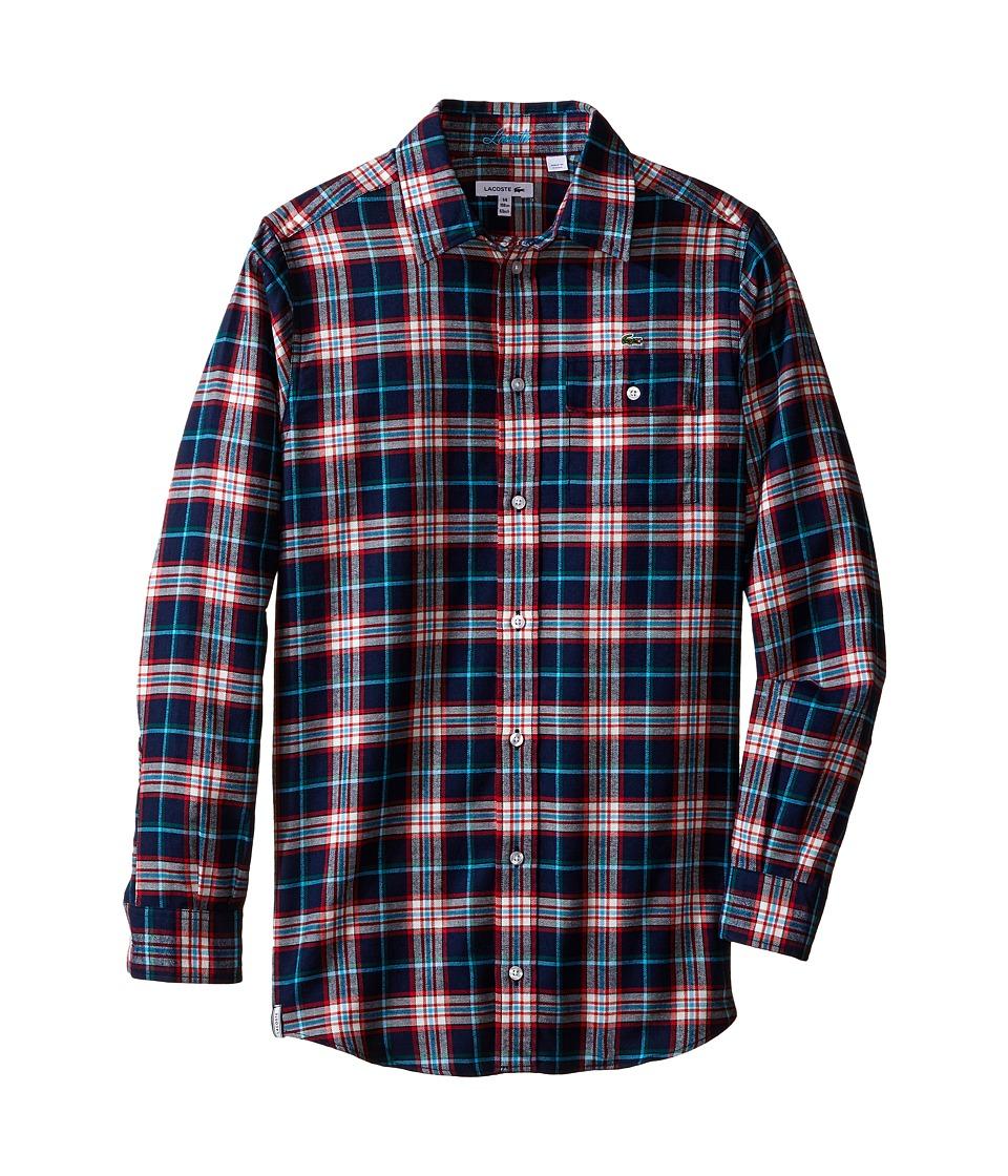 Lacoste Kids - Long Sleeve Flannel Plaid Woven Shirt (Little Kids/Big Kids) (Multicolor) Boy's Clothing