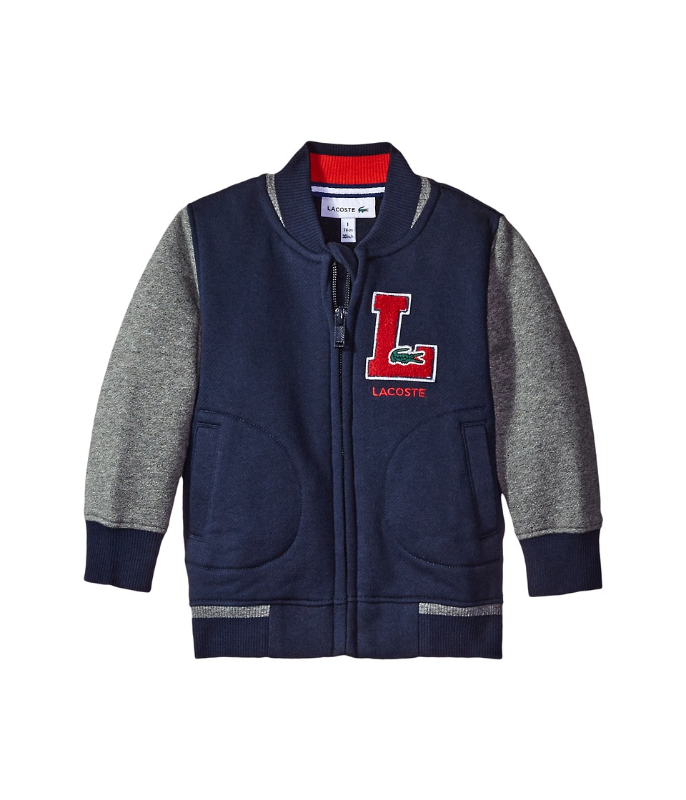 Lacoste Kids - Full Zip Varsity Sweatshirt with Patch Detail (Infant/Toddler/Little Kids/Big Kids) (Navy Blue/Light Grey Jaspe) Boy's Sweatshirt