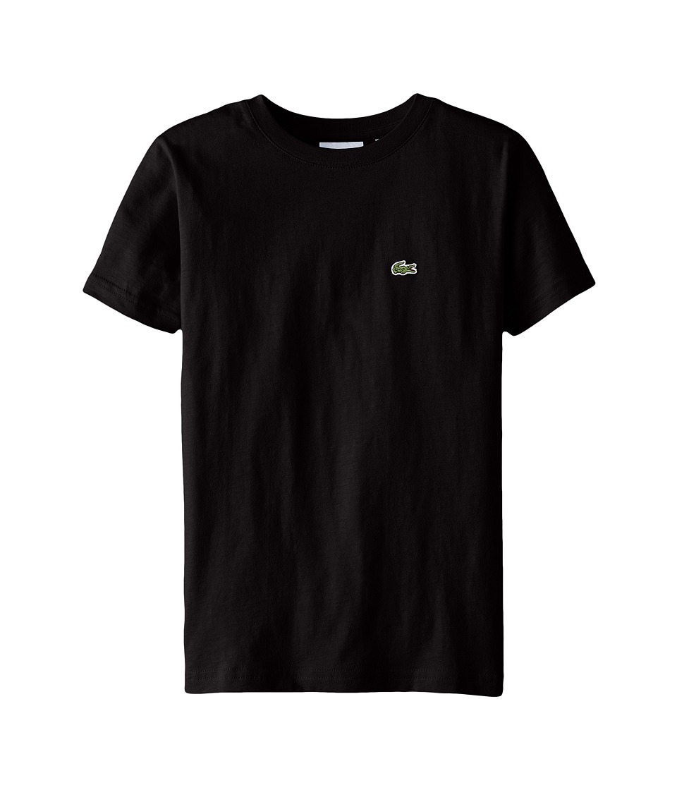 Lacoste Kids - S/S Classic Crewneck Jersey Tee (Toddler/Little Kids/Big Kids) (Black) Boy's Short Sleeve Pullover