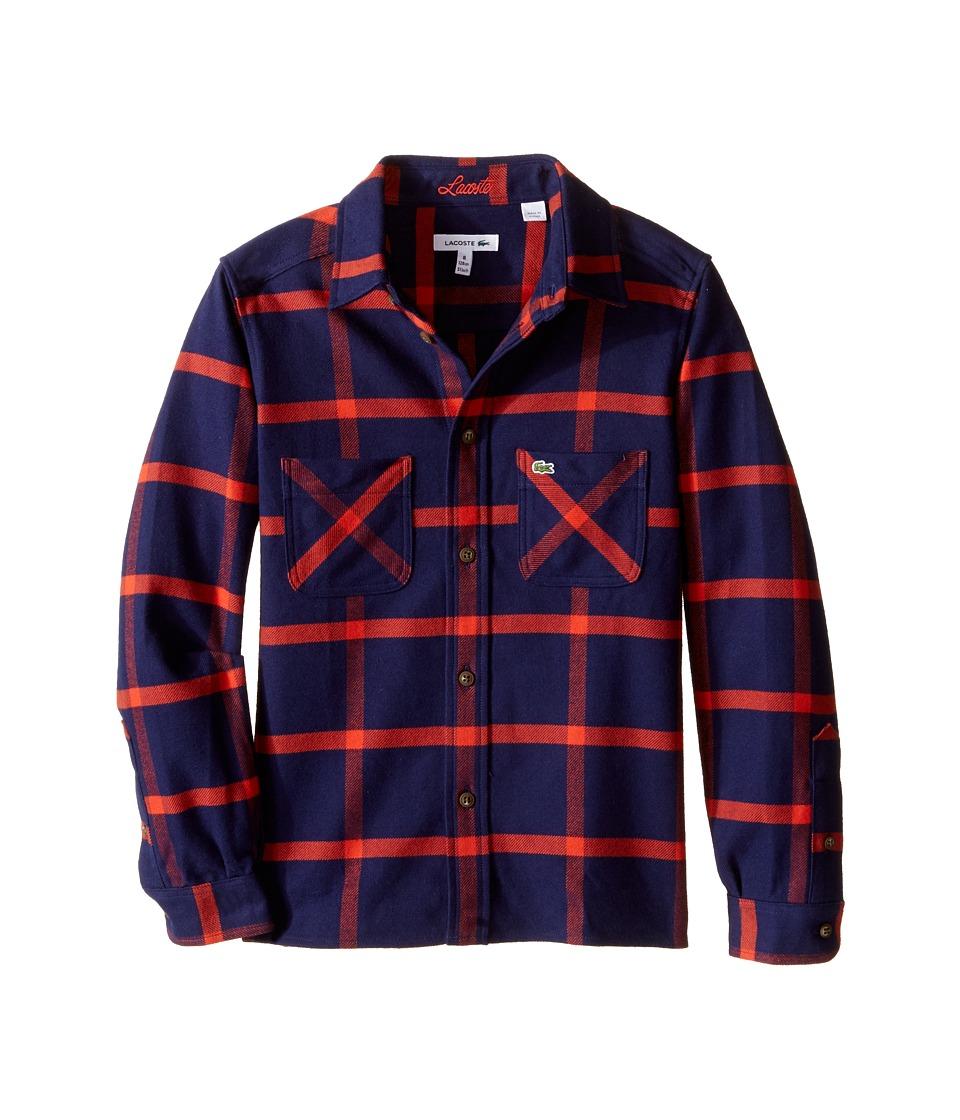 Lacoste Kids - Long Sleeve Flannel Bi-Color Plaid Woven Shirt (Little Kids/Big Kids) (Aquatic/Orangeraie) Boy's Long Sleeve Button Up